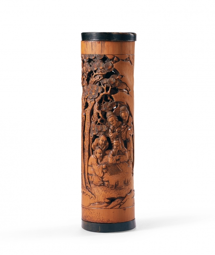 A CARVED BAMBOO 'FIGURE' INCENSE BURNER